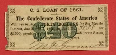 1861 $40 US Confederate STates of America! Old US! Genuine!