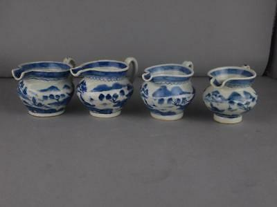 Four Chinese Export Blue And White Canton Hog Nose Creamers Circa 1820