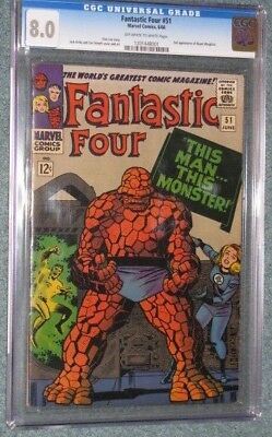 Fantastic Four # 51 CGC 8.0!! Amazing Color Strike!!A Classic!