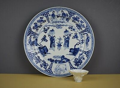 Chinese Kangxi Mark And Period 1662-1722 Blue And White Charger