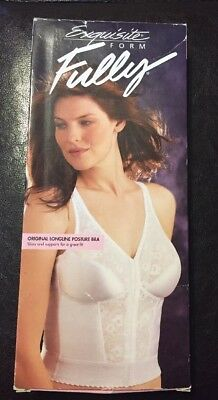 New/Vintage Exquisite Form White Fully Longline Posture Bra 34D 7565