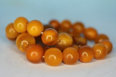Old Round Baltic Grad- Antique Amber Beads Necklace