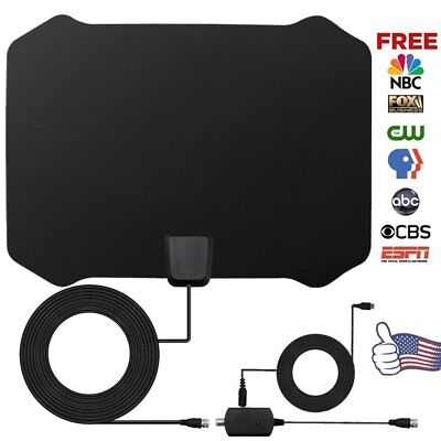 Ultra Thin HDTV Indoor Digital TV Antenna Fox Amplifier 50 Miles Range VHF UHF