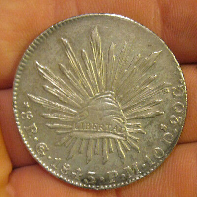 Mexico - 1843 GoPM Large Silver 8 Reales - Nice!