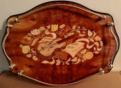 ITALIAN INLAY WOOD MARQUETRY DRESSER VANITY TRAY w/FLORAL MUSICAL ARTWORK