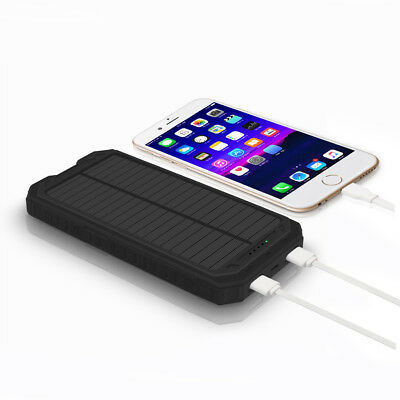 US 50000mah Solar Power Bank 2 USB 9LED Battery Charger For iPhone X For Samsung