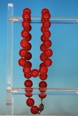 Vintage Chinese Carved Cinnabar Beads Necklace