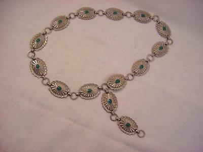 Vtg Retro Southwestern Concho Metal Chain Link Belt-Metal w/Turquoise Stones