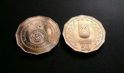 Australian 50 cent coins 2014 & 2016 Both Very Low Mintage.AIATSIS,DECIMAL ANNIV