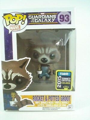 FUNKO SDCC 2015 Exclusive GotG Rocket w/ Potted Groot Marvel #93 POP! Vinyl NEW