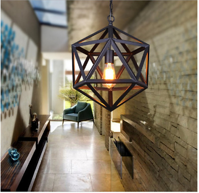 Wrought Iron Polyhedron Pendant Lamp Suspension Chandelier Indoor Lighting