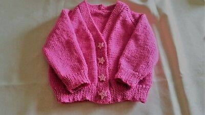 NEW - hand knitted baby cardigan - Pink  size 1