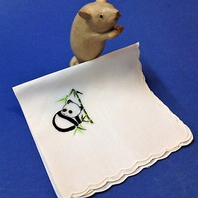 New  / Vintage - White Cotton Voile Handkerchief with Embroidered Panda