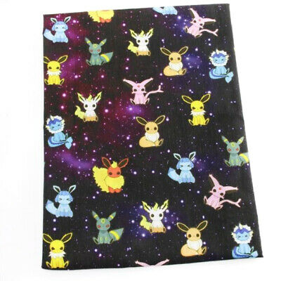 Fabric Pokemon On The Night Sky Print Polycotton Blend 50 X 145 Cm/20 X 58 In