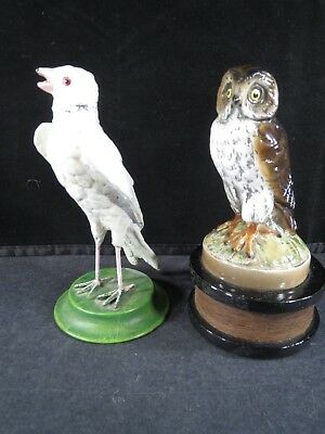 Scott Products metal Owl bottle opener, spelter white dove bird on a stand