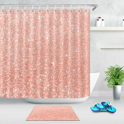 72x72 Bathroom Waterproof Shower Curtain 12 Hooks Rose Gold Glitter Background