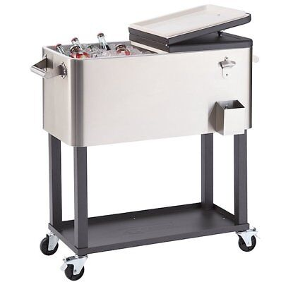 Cooler Cold Beverage Stainless Steel Outdoor Insulated Large Patio Metal Rolling