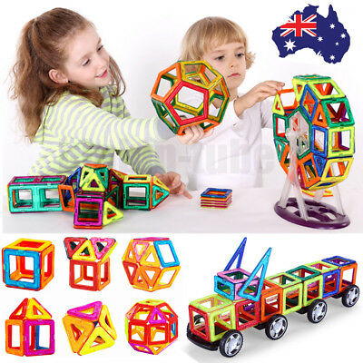 113Pcs Kids Magnetic Blocks Building Toys Magnet Tiles Kits Educational Gifts AU