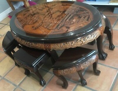 Strange Vintage Chinese Asian Wood Oval Hard Carved Coffee Table W Gmtry Best Dining Table And Chair Ideas Images Gmtryco