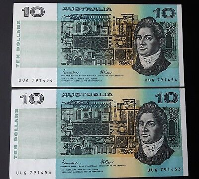 Consecutive pair  of Johnston  Fraser  $10 paper banknotes, Clean, Crisp, unc,