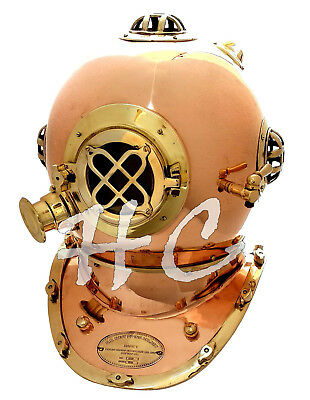 "18"" Solid Copper and Brass Deluxe U.S Navy Mark V Diver's Diving Helmet Replica"