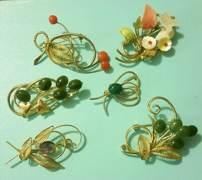 VINTAGE Lot Of 6 Golden FLORAL Wire Leaf BROOCHES/Pins JADE CORAL MOP SCARAB EVC
