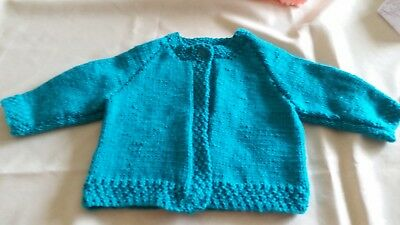NEW - Hand Knitted Baby matinee jacket - green