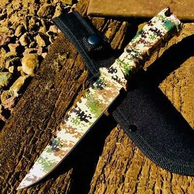 "11"" Defender-Xtreme Full Tang Hunting Outdoor Knife Camo Steel Blade and Handle"