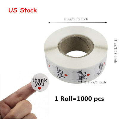1000pcs White Stickers Round with Thank You Self-adhesive Label Wafer Seals