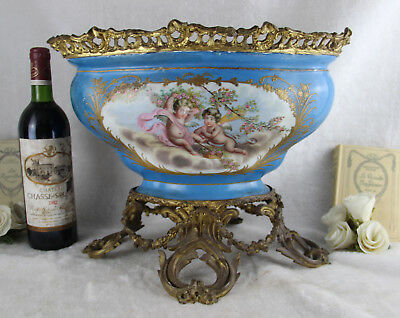 Huge XXL French Sevres porcelain marked Coupe table centerpiece putti floral
