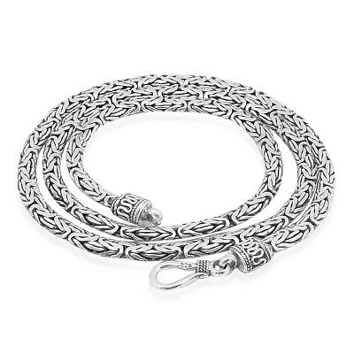 HEAVY 3 mm Solid HANDMADE 925 Sterling Silver BYZANTINE Chain Necklace 18-20-24""