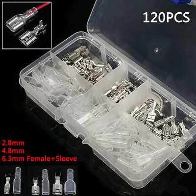 120pcs Crimp Terminals Female Spade Connectors 2.8/4.8/6.3mm Wire Insulated Kit