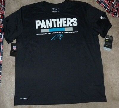 b5fdd03c7 NEW NFL Carolina Panthers Football T Shirt NIKE Men 2XL XXL Black Dri Fit  NWT