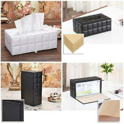 Case High Grade Leather Tissue Box Case Cover Holder Car Napkin Storage Table AU