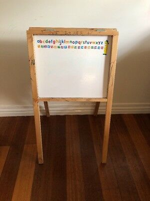 Kids Easel Art Children Whiteboard Blackboard Stand Wood Drawing Board
