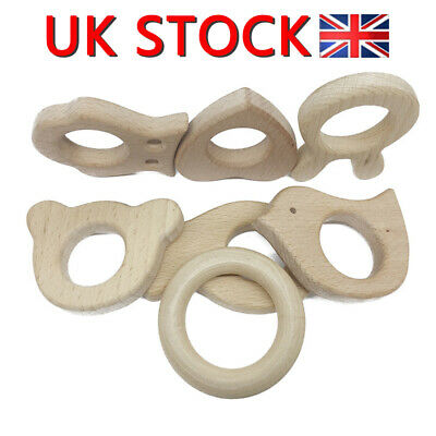 Wooden Animal Teether Handmade Natural Shower Gift Bird Ring Baby 1 PC