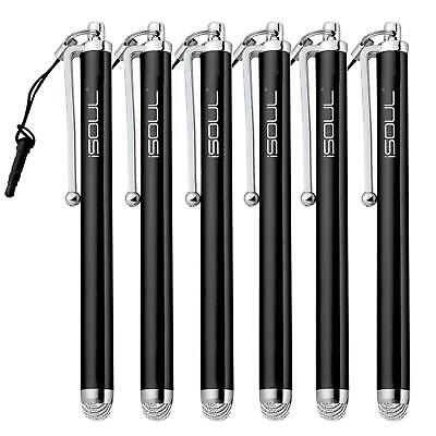 6x Micro-Fiber Capacitive Stylus Touch Screen Pen for All Mobile Phones, Tablet