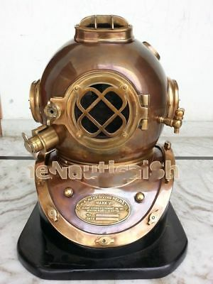 "Antique Solid Copper & Brass Diving Divers Helmet 18"" Black Base Vintage Boston"