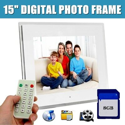 """15"""" LCD Full HD Digital Photo Frame Picture Movie Player+Remote+8G SD Card"""