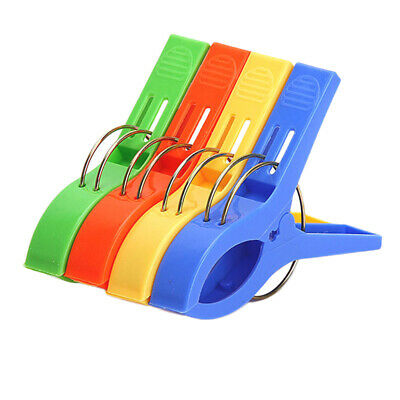 Pack of 4 Large Bright Colour Plastic Beach Towel Pegs Clips to Sunbed Set
