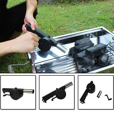 Outdoor Camping Quick Cooking Fire Air Blower Fan BBQ Barbecue Hand Crank Tool