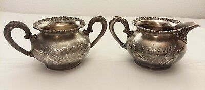 Vintage Van Bergh Silver Plate Co. Rochester NY Sugar bowl & creamer set