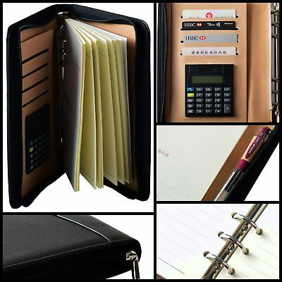 PU Leather A5 Zipper Planner Business Notebook Schedule book Calendar Calculator
