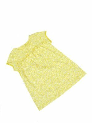 Girls Baby Dress Ditsy Floral Summer Yellow Cotton Dresses 0-3  to 12-18 mths