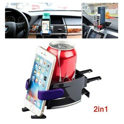 2 in 1 Universal Smart Car Drinks Holder Bottle Cup Water Air Vent Phone Mount