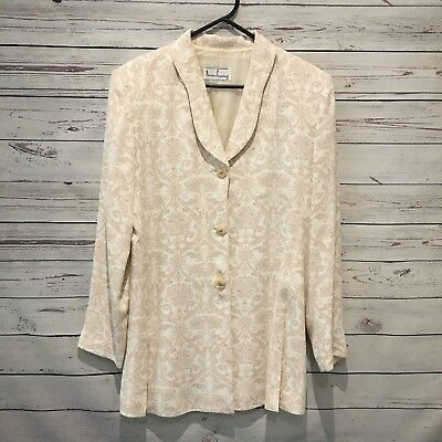 ANTHEA CRAWFORD Gorgeous Jacket Size 10 Beige Cream with Shoulder Pad