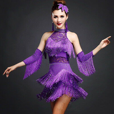 Latin Tango Rumba Samba Ballroom Salsa Dance Dress Fringes Tassels Party Dress