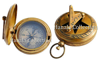 "2"" Brass Sundial Compass - Necklace Pendant - Old Vintage Antique Pocket Style"