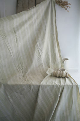 Antique French LONG linen TICKING pannel WASHED c1880
