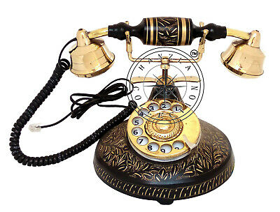 Vintage Brass Antique Rotary Phone Old Fashioned Telephone French Victorian Gift